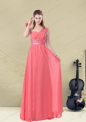 Decent Floor Length Belt One Shoulder Prom Dress Fitted