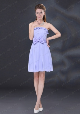 Lavender A Line Strapless Prom Dress with Bowknot