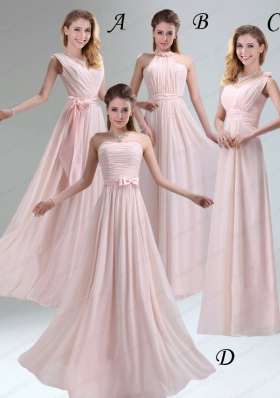 Most Beautiful Chiffon Light Pink Empire Prom Dress with Ruching