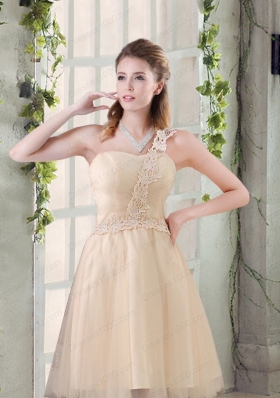 Popular A Line Appliques Prom Dress with One Shoulder