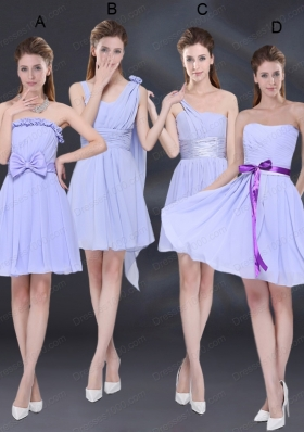 2015 Elegant Chiffon Lace Up Prom Dress in Lavender