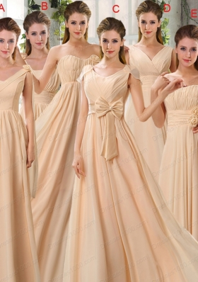 2015 Fashionable Champagne Ruching Chiffon Prom Dresses