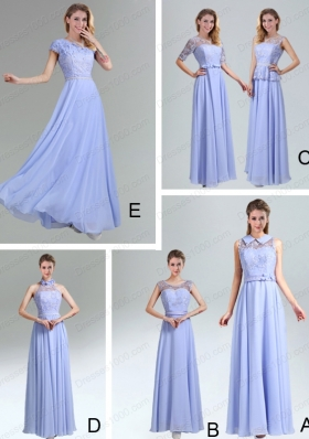 2015 Modest Belt Empire Prom Dress in Lavender
