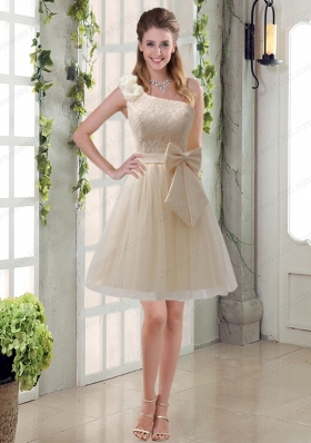 2015 Princess One Shoulder Bowknot Lace Mother of the Bride Dresses in Champagne