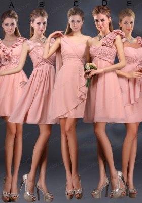 2015 Ruching Chiffon Prom Dresses in Peach
