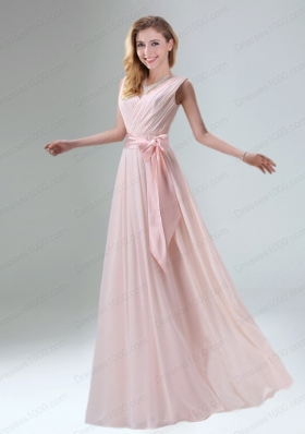 Fashionable Belt Ruching Chiffon Mother of the Bride Dresses with Bowknot