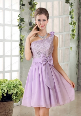 One Shoulder Lilac Mother of the Bride Dresses with Bowknot for 2015