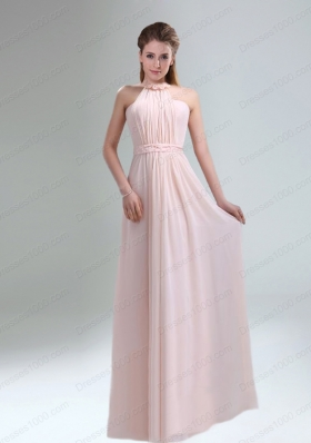 Romantic 2015 High Neck Chiffon Light Pink Mother of the Bride Dresses