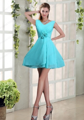 Ruching and Hand Made Flowers V Neck A Line Prom Dress