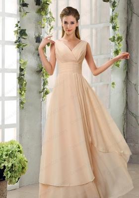 Ruching V Neck Chiffon Prom Dresses in Champagne