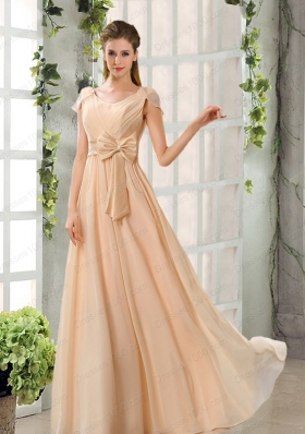Scoop Ruching Cap Sleeves Chiffon Prom Dresses in Champagne