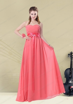 Sweetheart Watermelon Long Mother of the Bride Dresses with Bow Belt