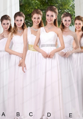 White Ruching Empire Prom Dresses for 2015