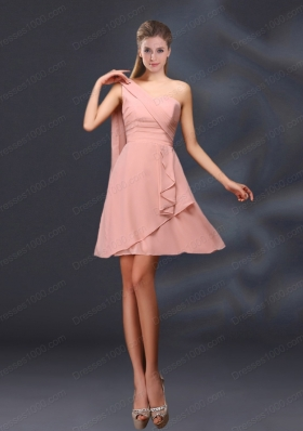 2015 One Shoulder Ruching Chiffon Mother of the Bride Dresses in Peach