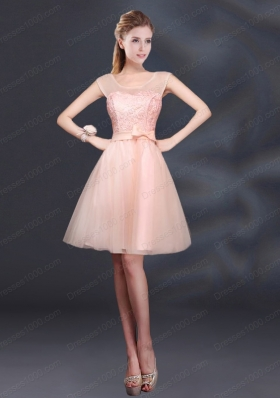 2015 Sturning A Line Belt Mother of the Bride Dresses with Scoop