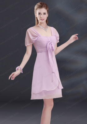 A Line Square Ruhing Bridesmaid Dress with Cap Sleeves