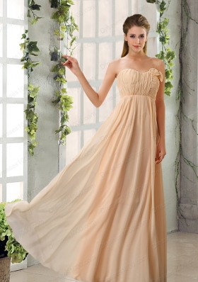 Empire V Neck Ruching Chiffon Mother of the Bride Dresses with Cap Sleeves