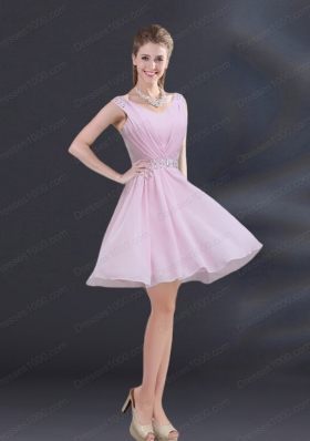 V Neck Beading 2015 Mother of the Bride Dresses with Ruching