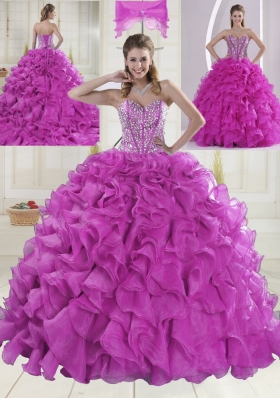 Ball Gown Sweetheart Brush Train Beading Quinceanera Dresses in Fuchsia
