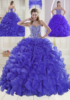 Hot Sale Sweetheart Brush Train Beaded Decorate Quinceanera Dresses in Sweet 16