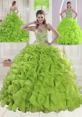 Yellow Green Sweetheart Brush Train Quinceanera Dresses