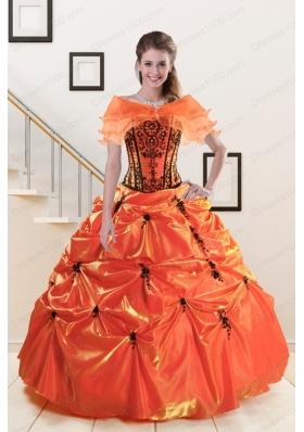2015 Elegant Appliques Quinceanera Dresses in Orange Red and   Black