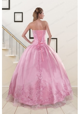 2adb648577f Elegant Beading and Appliques Baby Pink Quinceanera Dresses for 2015