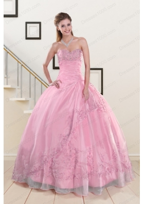 Elegant Beading and Appliques Baby Pink Quinceanera Dresses for 2015