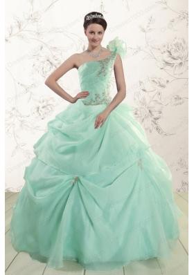 2015 Apple Green One Shoulder Elegant Quinceanera Dresses with Appliques