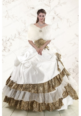 2015 Elegant Strapless Leopard Quinceanera Dresses with Hand Made Flower