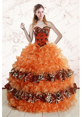 2015 Elegant Sweetheart Leopard Quinceanera Dresses in Orange