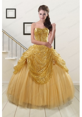 2015 Most Popular Sweetheart Cheap Quinceanera Dresses in Gold