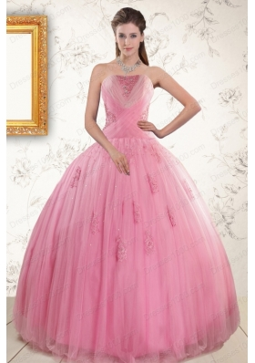 2015 Pretty Pink Quinceaneras Dresses with Appliques and Beading