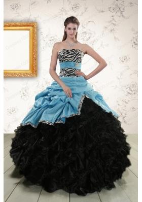 Elegant Ruffles 2015 Quinceanera Dresses with Zebra and Belt