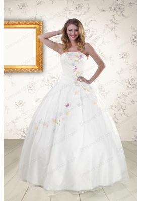 Pretty White Strapless Embroidery Cheap Sweet 16 Dresses