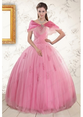2015 Cheap Pink Quinceaneras Dresses with Appliques and Beading