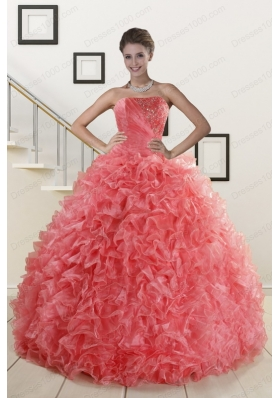 2015 Cheap Watermelon Red Sweet 15 Dress with Beading