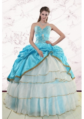 2015 Fashionable Sweetheart Aqua Blue Quinceanea Dresses with Beading