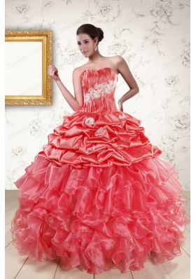 Cheap Sweetheart Beading Quinceanera Dresses in Watermelon