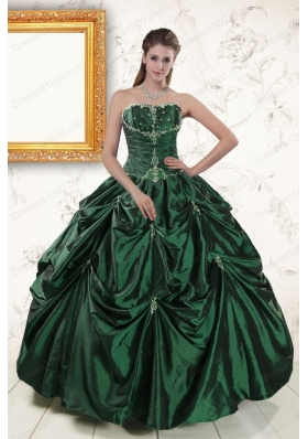 Most Popular Appliques Quinceanera Gowns in Dark Green