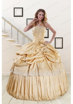 Most Popular Champagne Quinceanera gowns with Appliques