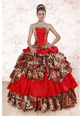 Most Popular Leopard Multi-color 2015 Quinceanera gowns with Strapless