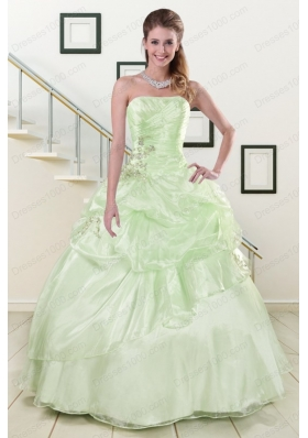 Most Popular Strapless Yellow Green Quinceanera Gowns with Beading