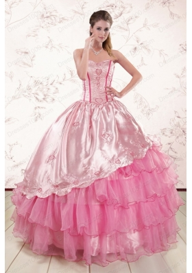 Remarkble Sweetheart Pink Quinceanera Dresses with Embroidery