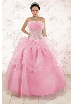 New Style Appliques Baby Pink Dresses for Quinceanera