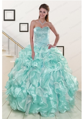 New Style Beading Sweet 16 Dresses in Apple Green for 2015