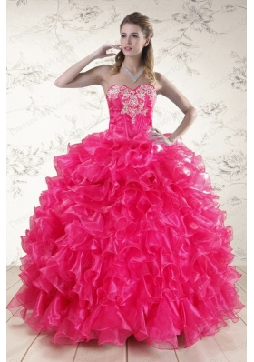 New Style Hot Pink Sweet 15 Dresses with Appliques and Ruffles