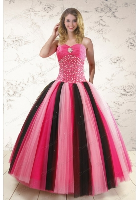 New Style Multi Color Sweet 15 Dresses with Beading for 2015