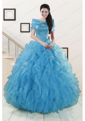 Most Popular Blue Quinceanera Gowns With Beading and Ruffles