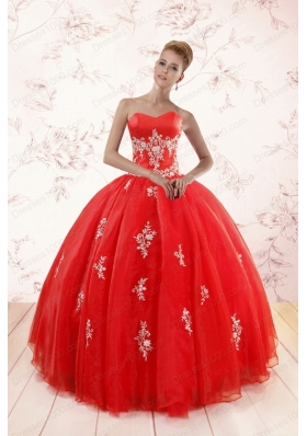 Most Popular Red Puffy Quinceanera Gowns with Appliques